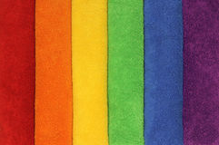 Rainbow Towels. A row of towels in the colors of the rainbow Royalty Free Stock Image