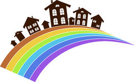 Rainbow town Stock Photography