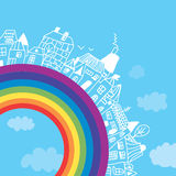 Rainbow town funny background Royalty Free Stock Image