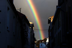 Rainbow in Town Stock Photography
