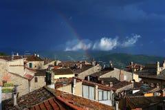 Rainbow, town, Tuscany Stock Photos