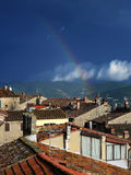 Rainbow, town, Tuscany Stock Images