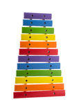 Rainbow toy xylophone isolated on white Royalty Free Stock Photos