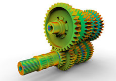 Rainbow transmission gear box. 3D rendered illustration of a transmission gear box. The gear box is colored in a rainbow pattern using multiple colors. The whole Royalty Free Stock Image