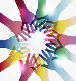Rainbow transparency hands circle. Diversity transparent hands circle  over white. EPS 10 vector illustration, cleanly built grouped and ordered in layers for Royalty Free Stock Images