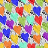Rainbow transparency hearts on the gray background Royalty Free Stock Images