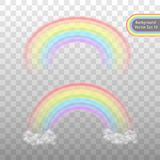 Rainbow on a transparent background. Realistic effect in the form of an arch in a delicate color palette in the clouds. Vector. vector illustration