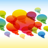 Rainbow transparent chat bubbles on colorful Stock Images