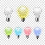 Rainbow transparent light bulbs set background Stock Image