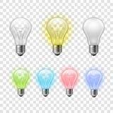 Rainbow transparent light bulbs set background stock illustration