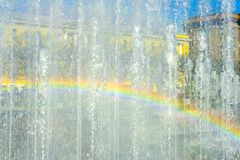 Rainbow on the transparent wall of fountain jets in Saint Petersburg royalty free stock photos