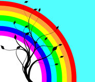 Rainbow and tree. Abstract natural preparation for the designer Royalty Free Stock Images