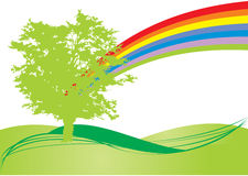 Rainbow tree. Fresh tree in spring colors with rainbow illustration Royalty Free Stock Photography
