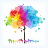 The rainbow tree. The abstract tree with rainbow color blend stock illustration
