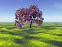 Rainbow tree in the distance royalty free illustration