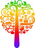 Rainbow tree with ecological icons Royalty Free Stock Photos