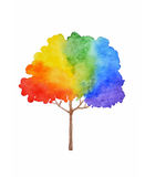 Rainbow tree illustration. Watercolor painting Stock Images