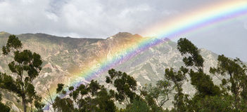 Rainbow With Trees And Mountain Stock Photo