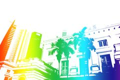 Rainbow Trendy and Modern City Life Abstract Stock Image