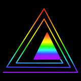 Rainbow triangle in another triangle, consisting of rainbow colo Royalty Free Stock Photo