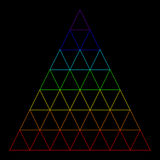 Rainbow triangle consisting of many small triangles Royalty Free Stock Image