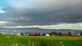 Rainbow on Trondheim Fjord. 4K time lapse footage. stock footage