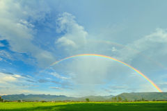 Rainbow in tropical. Rainbow on blue sky and clouds,Northern of Thailand Stock Photography