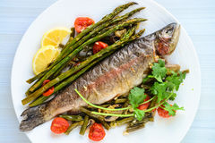 Rainbow trout and asparagus salad. Served with sweet lime and coriander along with balsamic cherry tomatoes stock images