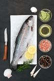 Rainbow Trout on Crushed Ice. Rainbow trout healthy heart food on crushed ice with rustic knife, rosemary herb, peppercorns, olive oil, himalayan salt, lemon and Royalty Free Stock Photography