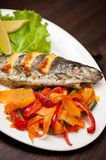 Rainbow trout fish. Tasty dish of rainbow trout fish with vegetables Royalty Free Stock Image