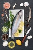 Rainbow Trout Health Food. On ice with rustic knife, herbs, peppercorns, olive oil, himalayan salt, lemon and lime on slate background Stock Image