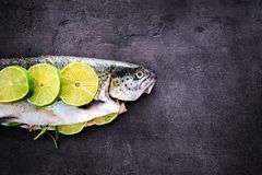 Rainbow trout with lime and seasoning. Fish at dark background. Preparation of healthy food. Fresh rainbow trout with lime and seasoning. Fish at dark backround Royalty Free Stock Image