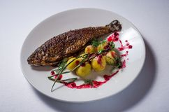 Rainbow trout with new potatoes stock photo