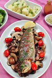 rainbow trout with some organic mushroom Stock Images