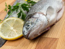 Rainbow trouts. Two raw rainbow trouts on wooden board decorated with parsley and lemon slices royalty free stock photos