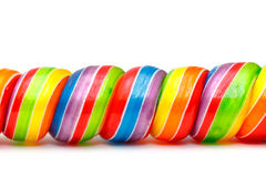 Rainbow Twirl Lollipop Candies Stock Image