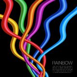 Rainbow Twisted Bright Vibrant Wares on black Stock Image