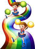 A rainbow and the two cheerers. Illustration of a rainbow and the two cheerers on a white background Stock Photos