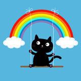 Rainbow two clouds in the sky and cat on swing. Dash line. Love card. Royalty Free Stock Photography