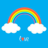 Rainbow and two clouds in the sky. Dash line. Love card. Flat design style. Stock Photo