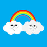 Rainbow and two clouds in the sky. Happy smiling face. Cute cartoon character. Dash line cloudshape twins. Love card. LGBT sign sy Royalty Free Stock Photo