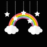 Rainbow and two clouds. White stars hanging on dash line rope. Royalty Free Stock Images