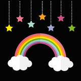 Rainbow and two white clouds. Colorful stars hanging on dash line rope.  Stock Photography