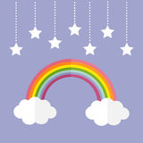 Rainbow and two white clouds. Colorful stars hanging on dash line rope.  Stock Photo