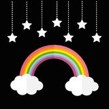 Rainbow and two white clouds. Stars hanging on dash line rope. LGBT sign symbol. Flat design. Black background. Royalty Free Stock Images