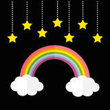 Rainbow and two white clouds. Yellow stars hanging on dash line rope. LGBT sign symbol. Flat design. Black background. Royalty Free Stock Image
