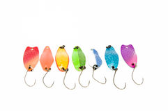 Rainbow with ultralite spoons for trout fishing Royalty Free Stock Photo