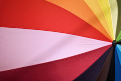 Rainbow umbrella. Rainbow colored beach umbrella, various colors royalty free stock photography