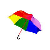 Rainbow umbrella. 3d rainbow umbrella isolated on white Royalty Free Stock Images