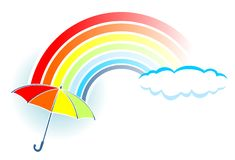 Rainbow and umbrella Stock Photos